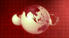 Rotating three red globes Stock Footage