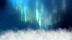 Aurora above clouds in night sky Stock Footage