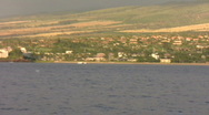 Whale Breach in front of Kaanapali Stock Footage