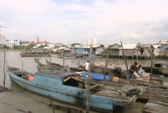 Batam Harbour Indonesia with boats Stock Footage