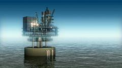 136 oil refinery oilrig water ocean still static Stock Footage