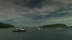 Boats docked in the harbor in Arcadia Park Maine Stock Footage