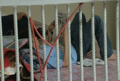 Batam Indonesia prison detainee in a cell  Stock Footage