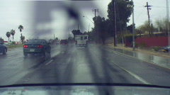 Driving in the rain - 7 - traffic mist Stock Footage