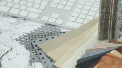 Keyboard, architectural materials & drawings Stock Footage