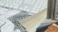 Stock Video Footage of keyboard, architectural materials & drawings