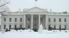 White House Washington DC Snow Storm Stock Footage