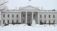 White House Washington DC Snow Storm Stock Footage