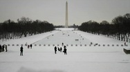 National Mall Washington DC Snow Storm Stock Footage