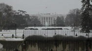 Behind White House in Washington DC Snow Storm Stock Footage