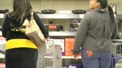 Overweight Sisters Shopping Stock Footage