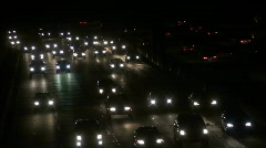 Busy Freeway Night Lights Stock Footage
