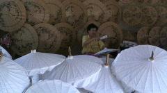 Parasol making, Bo Sang, Chaing Mai, Thailand, Asia Stock Footage