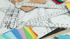 Architectural materials, ruler, blueprints Stock Footage