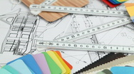 Stock Video Footage of architectural materials, ruler, blueprints