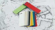 House - colored plastics, architectural drawings Stock Footage