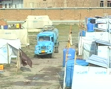 Water Tanker in Refugee Camp; Swat, Pakistan Stock Footage