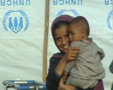 Refugee Kids in a UNHCR Camp; Swat, Pakistan - stock footage