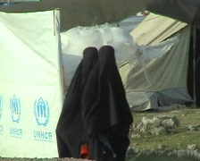Women in Burqa UNHCR Refugee Camp; Swat, Pakistan - stock footage
