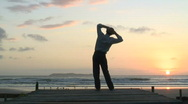 Stock Video Footage of Businessman making a break at the sea