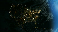 North America From Space. Night - stock footage