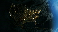 Stock Video Footage of North America From Space. Night