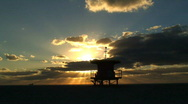 Stock Video Footage of Lifeguard Station, Sunrise, Miami South Beach Florida,