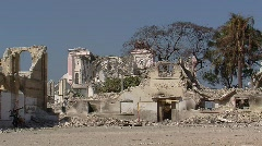 Destroyed Cathedral and School (HD) c Stock Footage