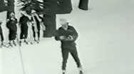Stock Video Footage of Skiing--From 1930's film