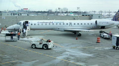 Continental Express Airplane at Cleveland Airport Stock Footage