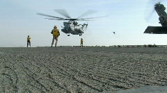CH-53 Lands on Deck of Aircraft Carrier (HD) Stock Footage