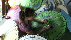 Making and hand Painting Parasols, Chaing Mai, Thailand  Stock Footage