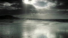 Silver Sand with moving clouds on Irish Coast Stock Footage