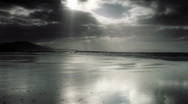 Stock Video Footage of Silver Sand with moving clouds on Irish Coast