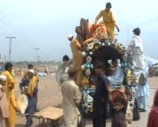 Van carrying Aid for Refugees in Swat, Pakistan Stock Footage