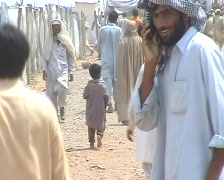 Road Leading to Refugee Camp in Swat, Pakistan Stock Footage