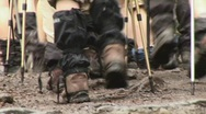 Walking shoes and sticks Stock Footage