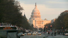 United States Capitol Building at Sunset Stock Footage