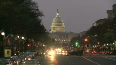 United States Capitol Building at Dusk Stock Footage