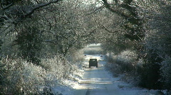 Vehicle, driving in Snow, Wickwar Glos, England Stock Footage