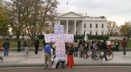 White House HD with religious protesters Stock Footage