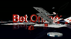 Bet Online text with casino chips and cards falling, Alpha Channel Stock Footage