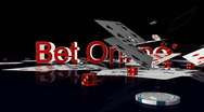 Stock Video Footage of Bet Online text with casino chips and cards falling, Alpha Channel