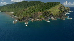Breathtaking aerial shots of a Peninsula with forest and weathered rocks Stock Footage