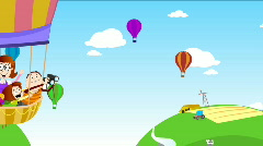 Family Picnic on Air Balloon Stock Footage