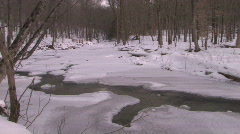 Vermont Winter River: Sunlight Through the Trees  - stock footage