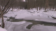 Stock Video Footage of Vermont Winter River: Sunlight Through the Trees