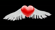 3D heart with wings Stock Footage