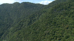 Aerial approaching a rainforest mountain side and top Stock Footage