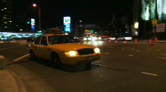 Yellow Taxi Cab Whips By - stock footage